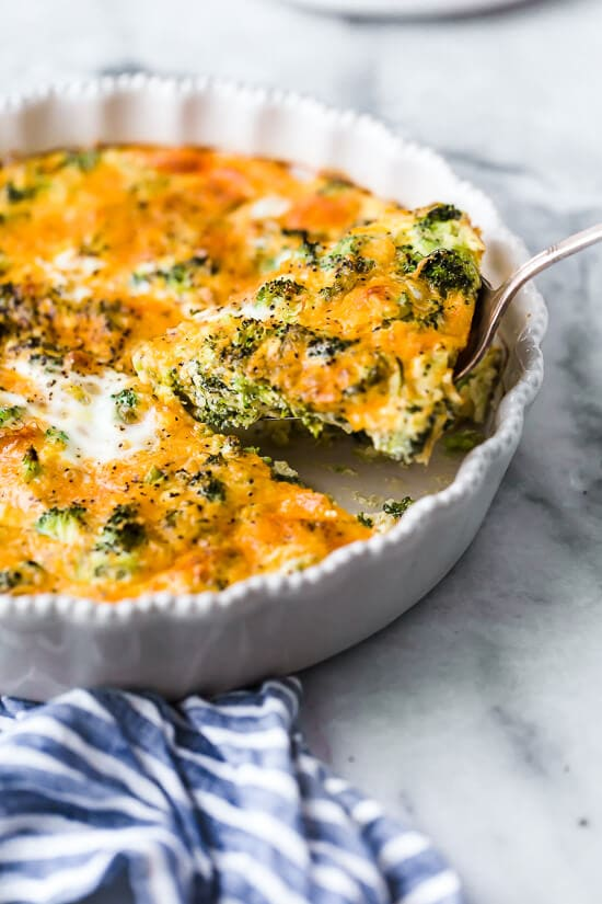 Broccoli and cheese is one of my favorite quiche combinations! This low-carb Crustless Broccoli Cheddar Quiche is light and delicious, perfect for breakfast or brunch (or even a light dinner)!