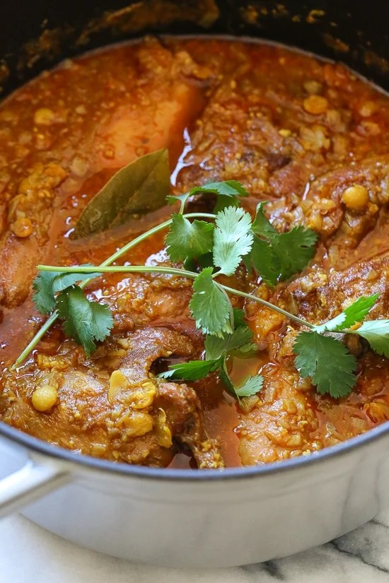 Chicken Dal Curry is a comforting Burmese stew made with yellow lentils, chicken, ginger, turmeric, curry and spices.