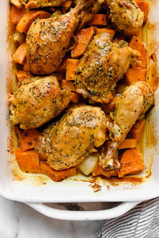 Turmeric Roasted Chicken and Sweet Potatoes