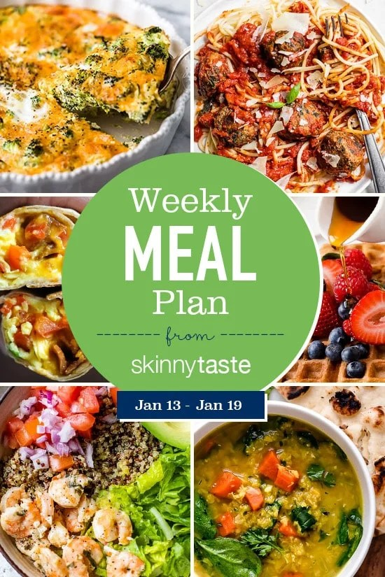 A free 7-day flexible weight loss meal plan including breakfast, lunch and dinner and a shopping list. All recipes include calories and updated WW Smart Points.