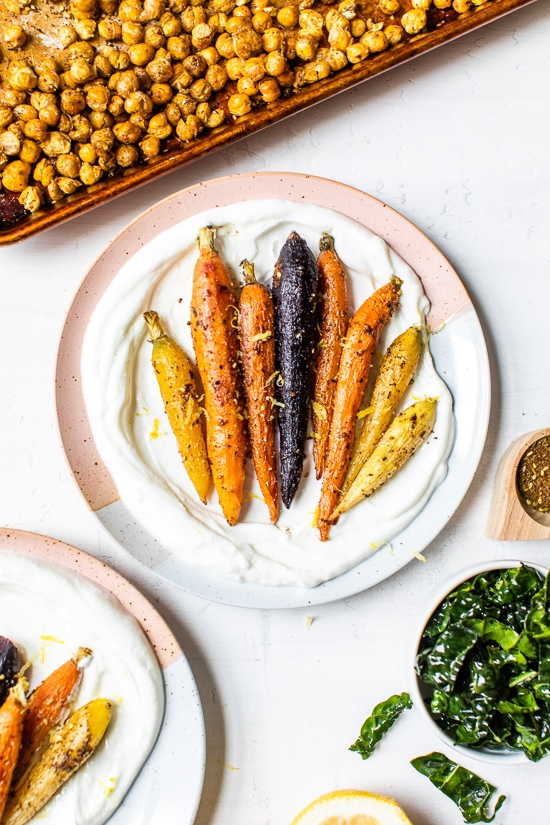 how to make roasted carrots and chickpeas
