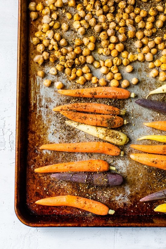 Sheet Pan Zaatar Roasted Carrot and Chickpea Yogurt Bowls