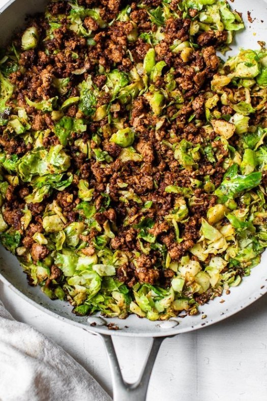 Spicy Pork Brussels in a skillet