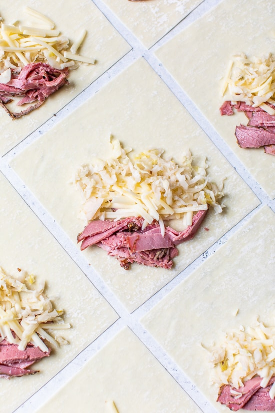 Filling Pastrami Reuban Eggrolls
