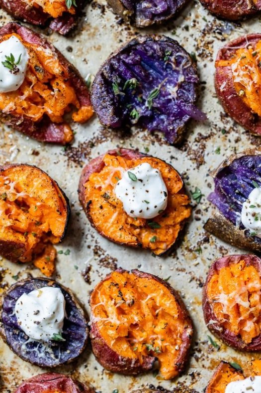 smashed sweet potatoes with parmesan