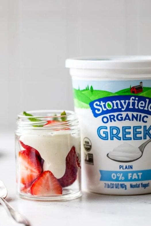 Strawberries and Yogurt Whipped Cream