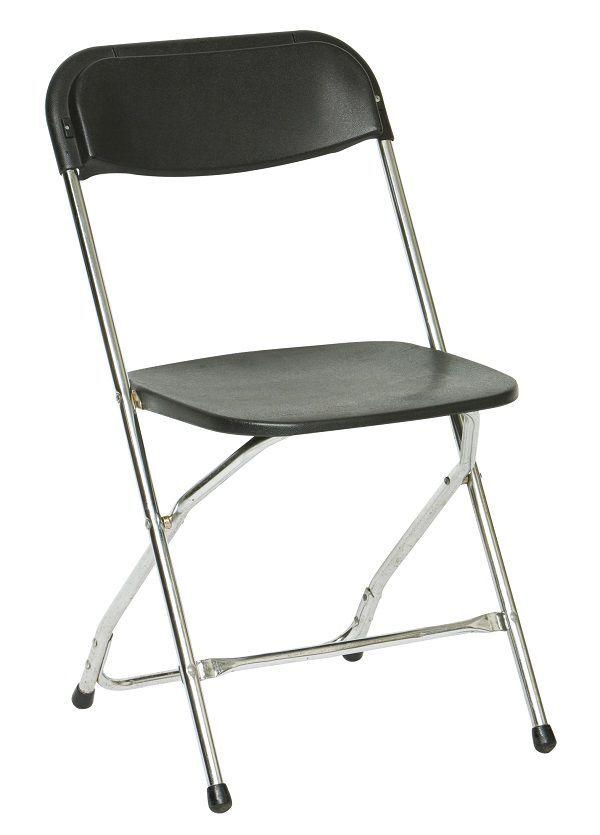 Klapstoel zwart, chroom frame