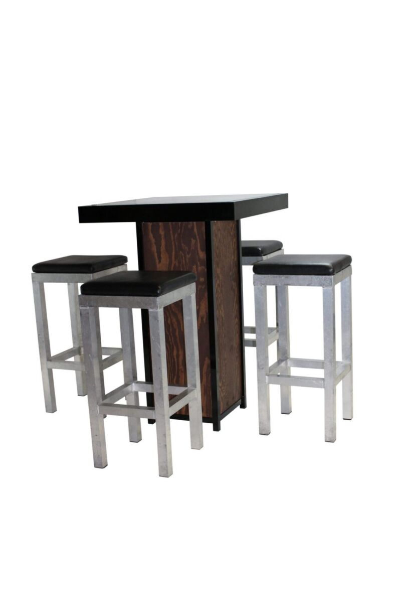 Statafel kolom zwart – Grey / Wood