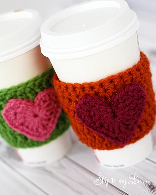 Happy Holidays Handmade Gift Idea Crochet Heart Coffee Cozy