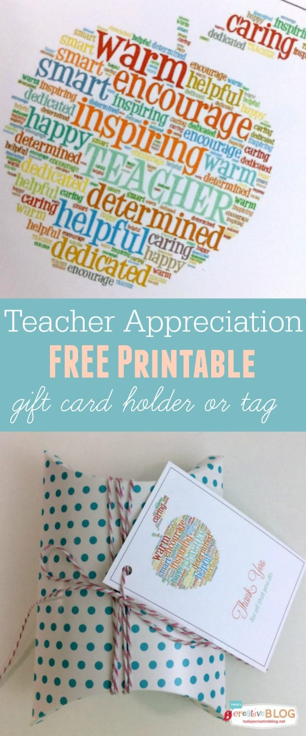 Free Printable Teacher Appreciation Gift Card Holder