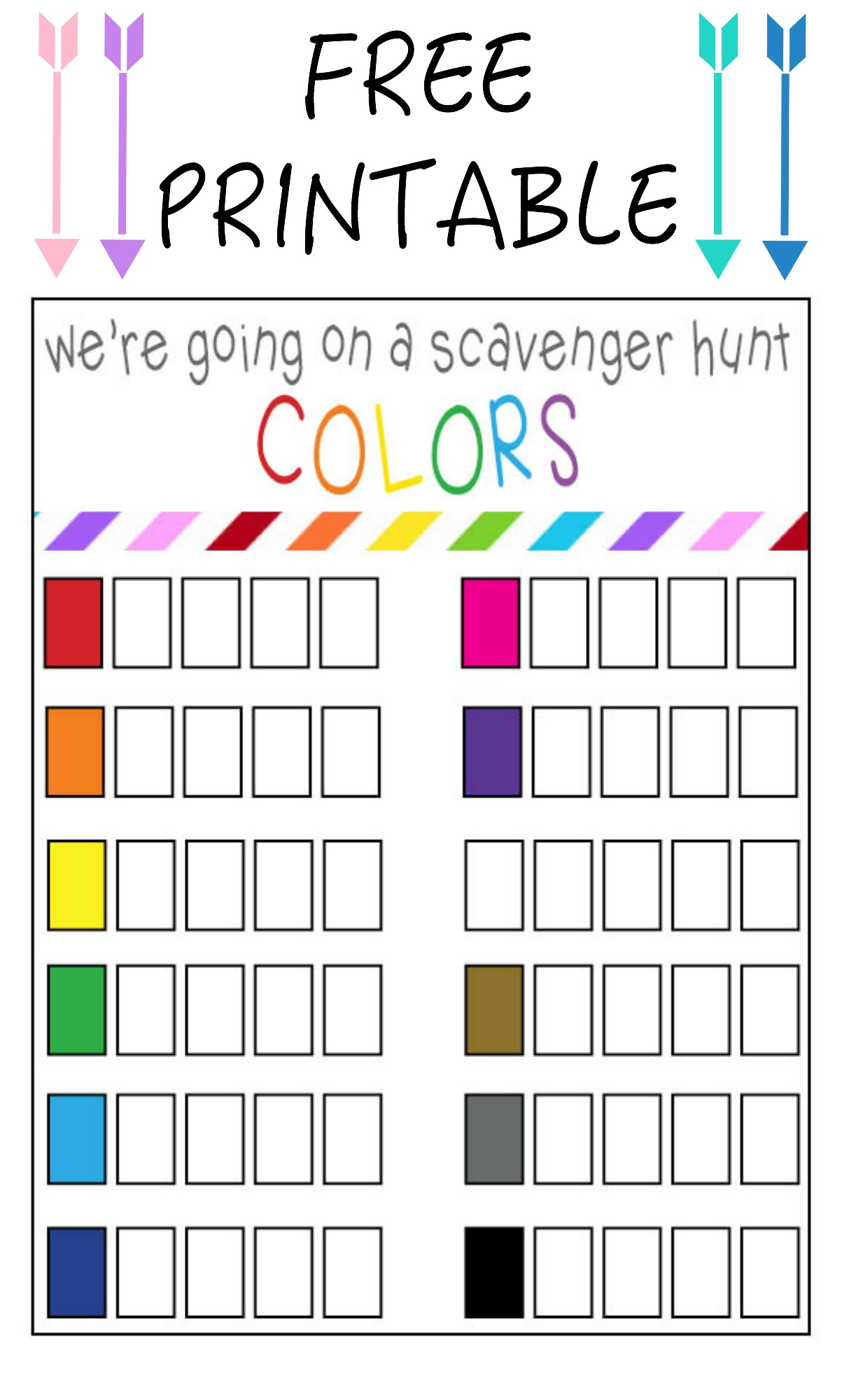Summer Color Scavenger Hunt Free Printable