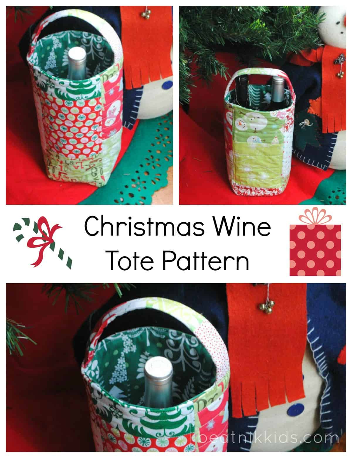 Wine Bottle Gift Bag Pattern wine tote sewing handmade gift gift idea gift bag