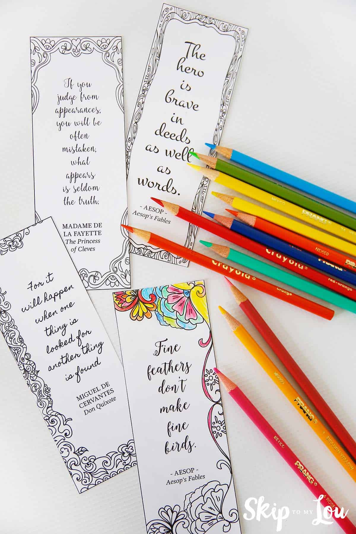 Make These Coloring Bookmarks With Inspirational Quotes To
