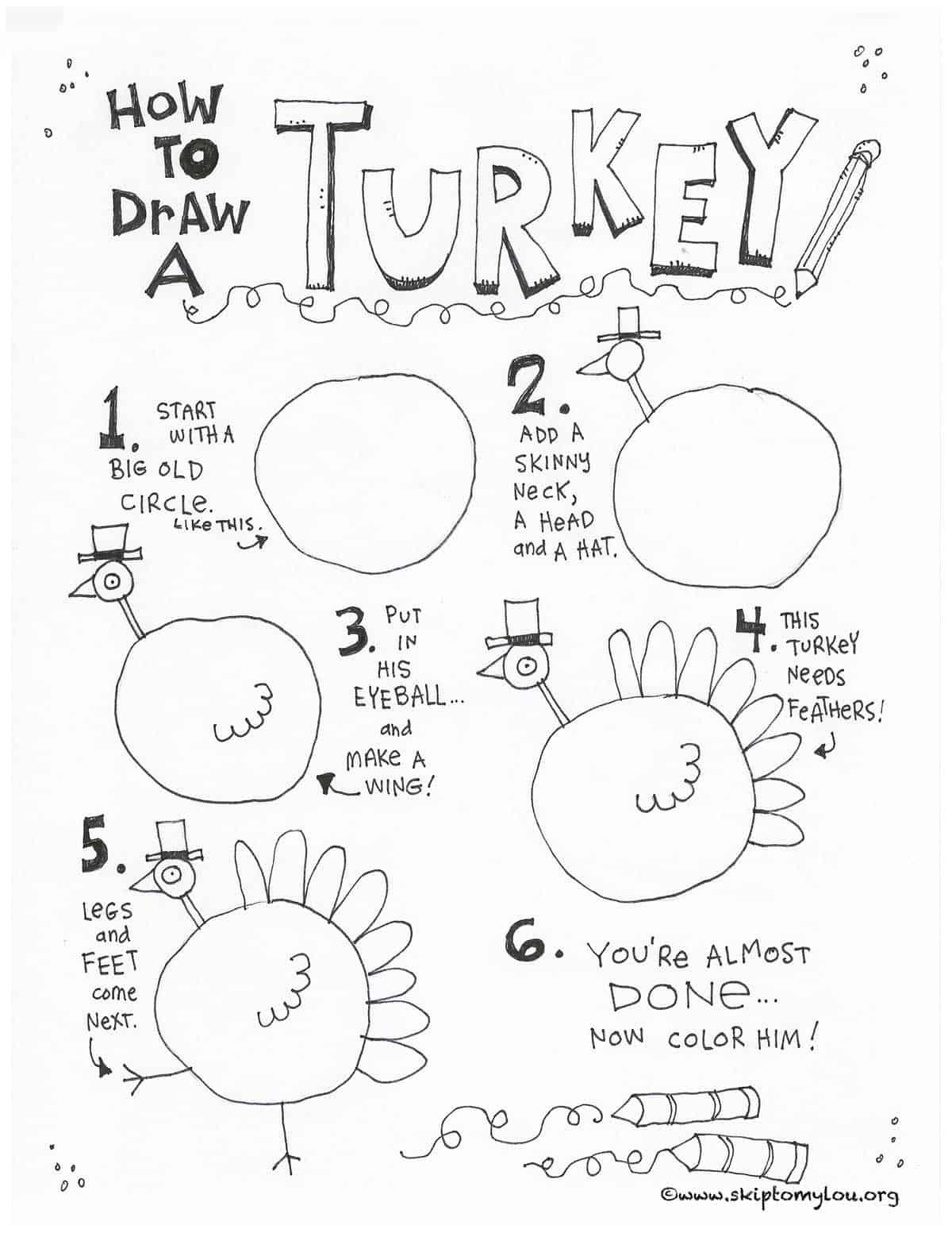 How To Draw A Turkey Skip To My Lou