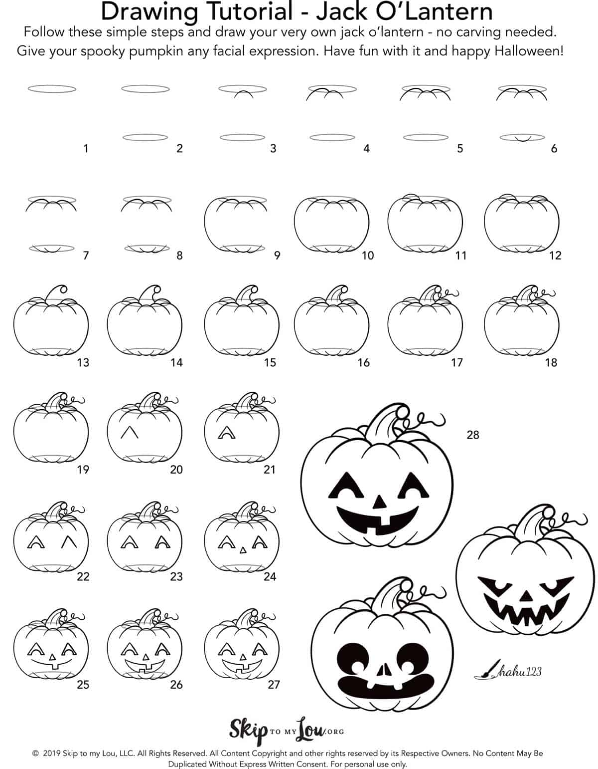 Easy Jack O Lantern Drawing Tutorial