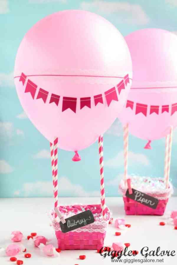 pink hot air ballon valentines box - by giggles and galore