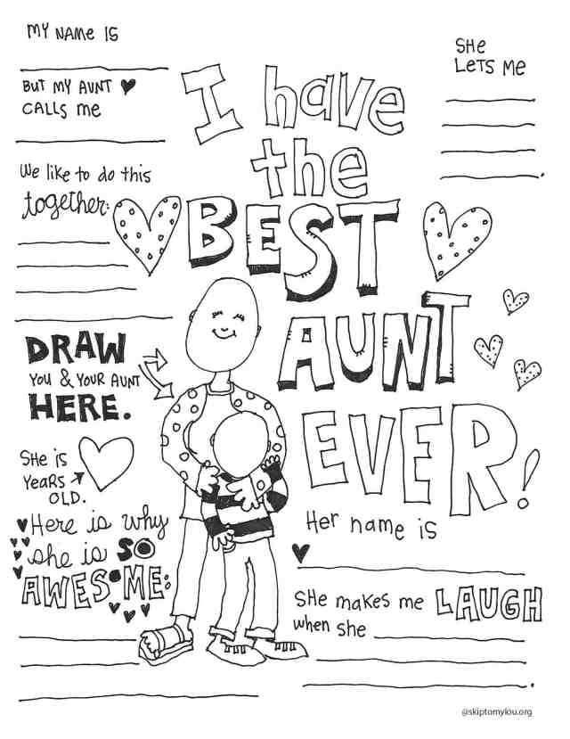 The BEST Aunt Coloring Page  Skip To My Lou