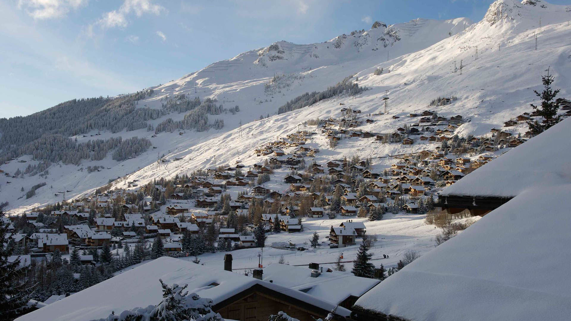 Snow covered Chalets in Verbier, Switzerland