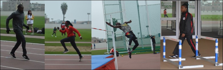 A collage of the St. Kitts and Nevis athletes in training in Lima, Peru. Attachments area