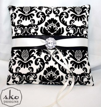 Ivory & Black Damask Ring Pillow