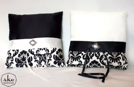 Black & Ivory Satin & Damask Ring Pillows