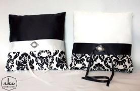 Black & Ivory Satin & Damask Ring Pillows