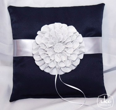 Navy Satin Ring Pillow with Silver Satin Band & Removable, Hand Made, Floral Brooch