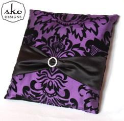 Purple & Black Damask Taffeta Ring Pillow with Black Satin Sash