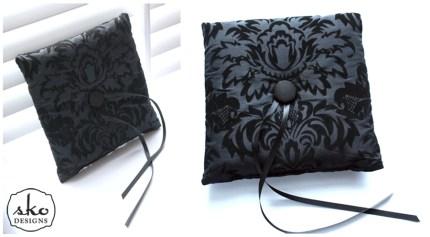 Black Damask Taffeta Ring Pillow