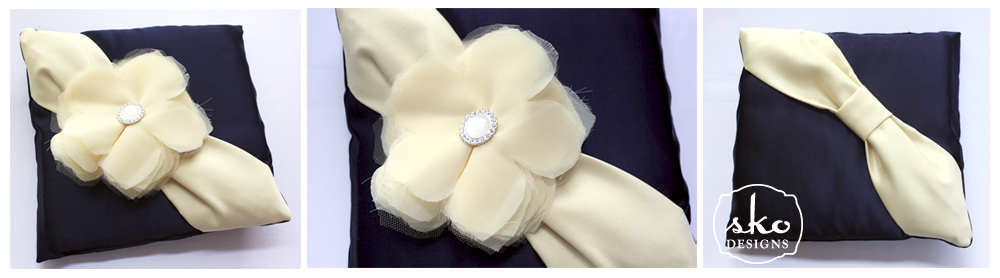 Navy Satin Ring Pillow with Pale Yellow Sash & Removable Flower