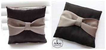 Chocolate Latte Satin Ring Pillow
