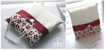 Red & Cream Floral Ring Pillows