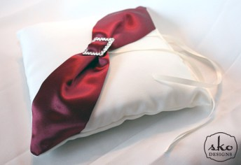 Ivory Satin Ring Pillow with Red Satin Sash & Rhinestone Buckle