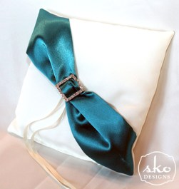 Ivory Satin Pillow with Teal Satin Sash & Rhinestone Buckle