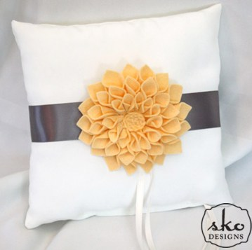 Ivory Satin Ring Pillow with Steel Gray Band & Yellow Floral Brooch