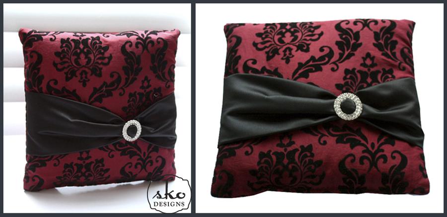 Red & Black Damask Taffeta Ring Pillow with Black Satin Sash