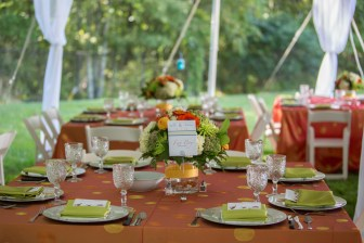 Gorgeous orange table linens and citron green napkins made this Summer backyard tent wedding bright and beautiful. Flowers by Katydid Flowers. Table Cards by SKO Designs. Photography by Shoreshotz Photography (shoreshotz1.com)