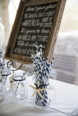 Custom chalkboard, straw flags and mason jars by SKO Designs. Photography by Organic Photography.