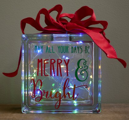 Merry & Bright Glass Block