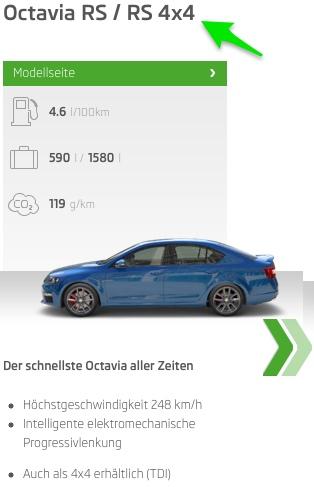 Screenshot von skoda.ch