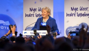 Erna Solberg på valvaken. Foto: CF Wesenberg. Copyright: Høgre
