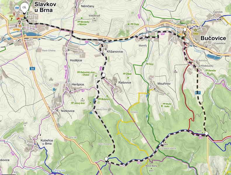 Výlet na koloběžce do Ždánického lesa - mapa