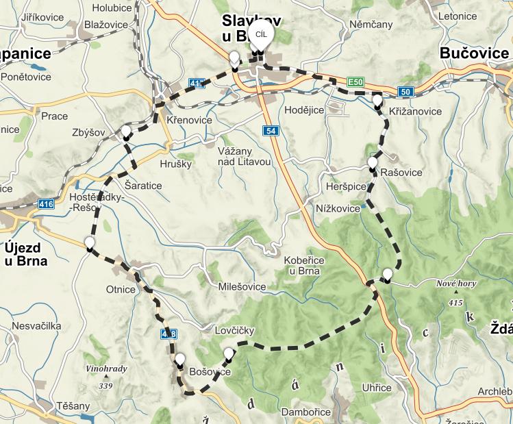 Výlet na koloběžce do zoo Bošovice mapa