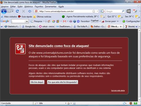 Alerta do Firefox: site da Universal Pictures denunciado como foco de ataques