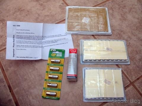 Baterias AG13/LR44, AG3/LR41, CR2032, GP 23A e cola de cianoacrilato