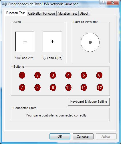 Tela de teste do driver com os 4 eixos (2 joysticks analógicos), 12 botões digitais e um direcional digital