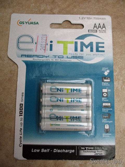 Pacote com 4 pilhas AAA recarregáveis GS Yuasa NiMH 800mAh
