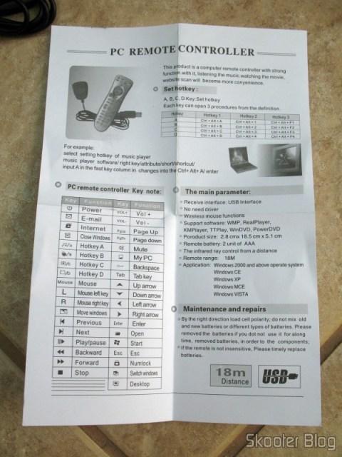 Folheto de Instruçoes do Controle Remoto de PC