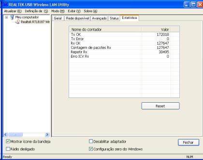 Software da Realtek: tela de estatísticas