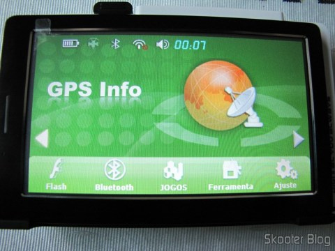Menu do navegador GPS